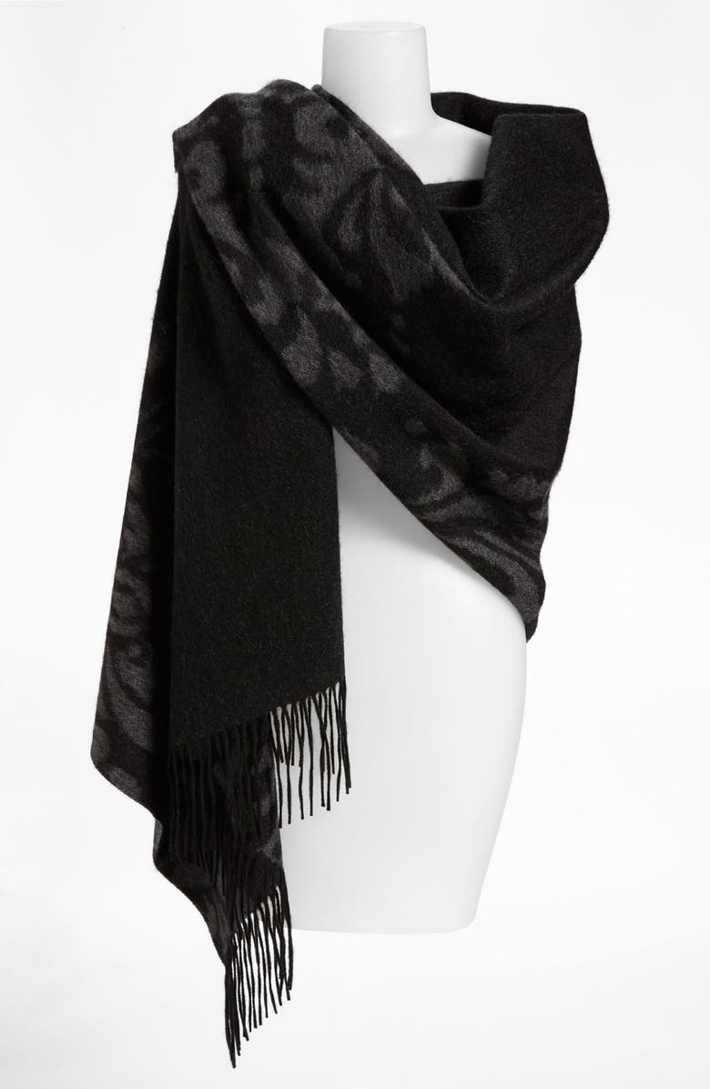 NORDSTROM 'Scroll' Woven Cashmere Wrap, Main, color, 020