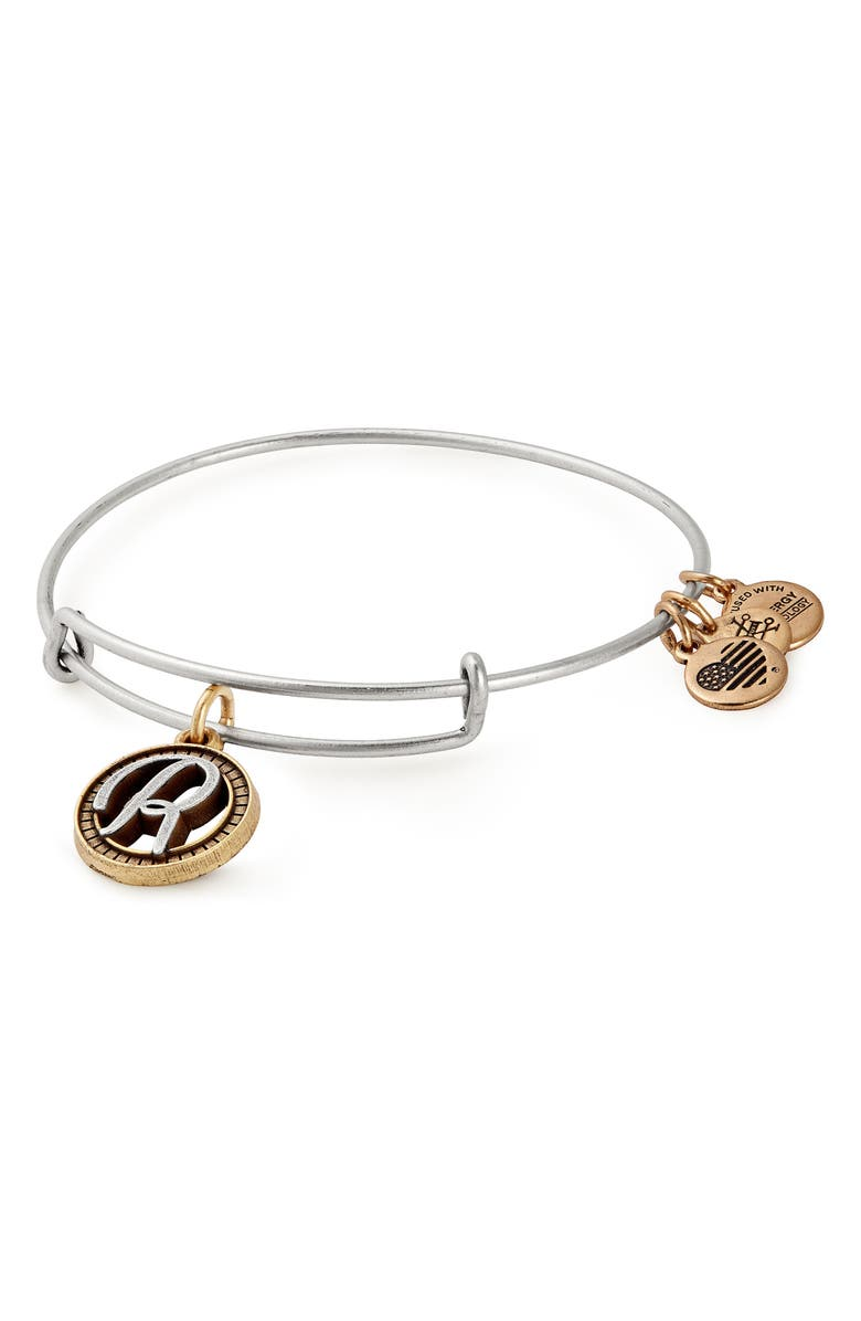 ALEX AND ANI Two-Tone Initial Charm Expandable Bracelet, Main, color, TWO-TONE-R