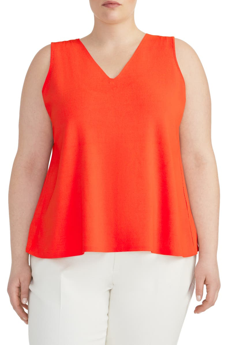 RACHEL ROY COLLECTION V-Neck Knit Swing Top, Main, color, FLAME