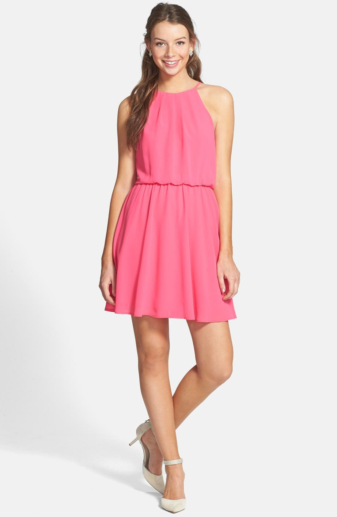 ,                             Blouson Chiffon Skater Dress,                             Alternate thumbnail 200, color,                             650