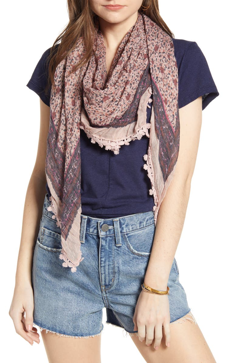TREASURE & BOND Print Gauze Scarf, Main, color, PINK DITSY MEADOW