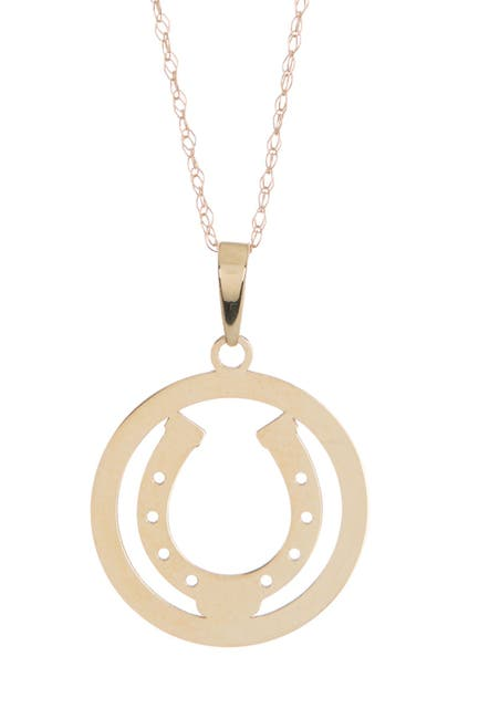Image of Candela 10K Yellow Gold Horseshoe Disc Pendant Necklace