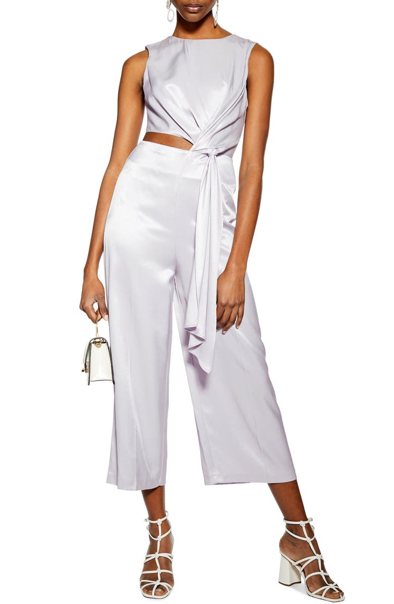 TOPSHOP Sleeveless Satin Jumpsuit, Main, color, LILAC