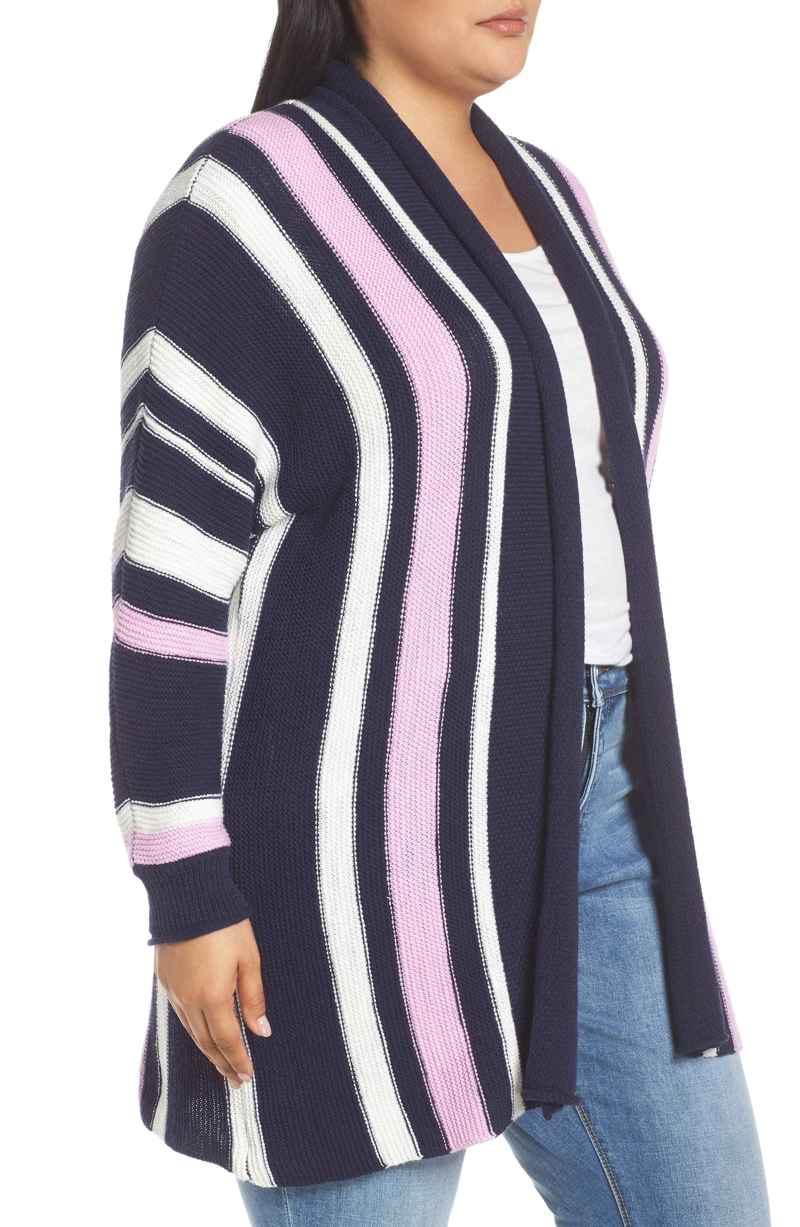 ,                             Stripe Open Front Cardigan,                             Alternate thumbnail 3, color,                             410