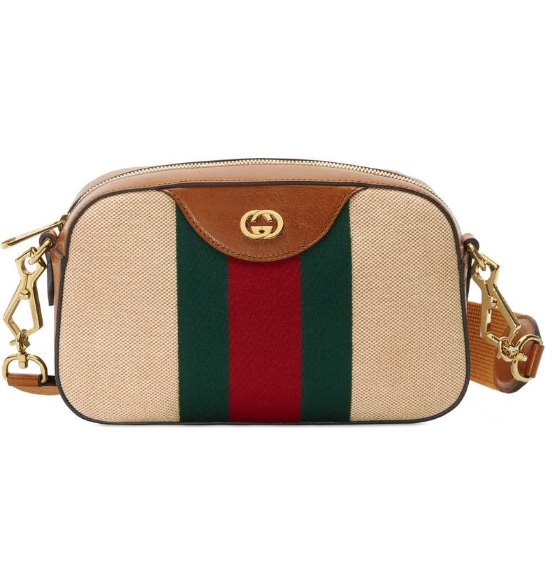 GUCCI GG Messenger Bag, Main, color, SAND/ CUIR/ VERT RED