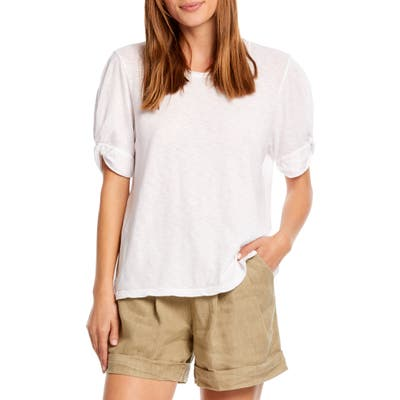 Michael Stars Victoria Knotted Sleeve Tee, Size One Size - White
