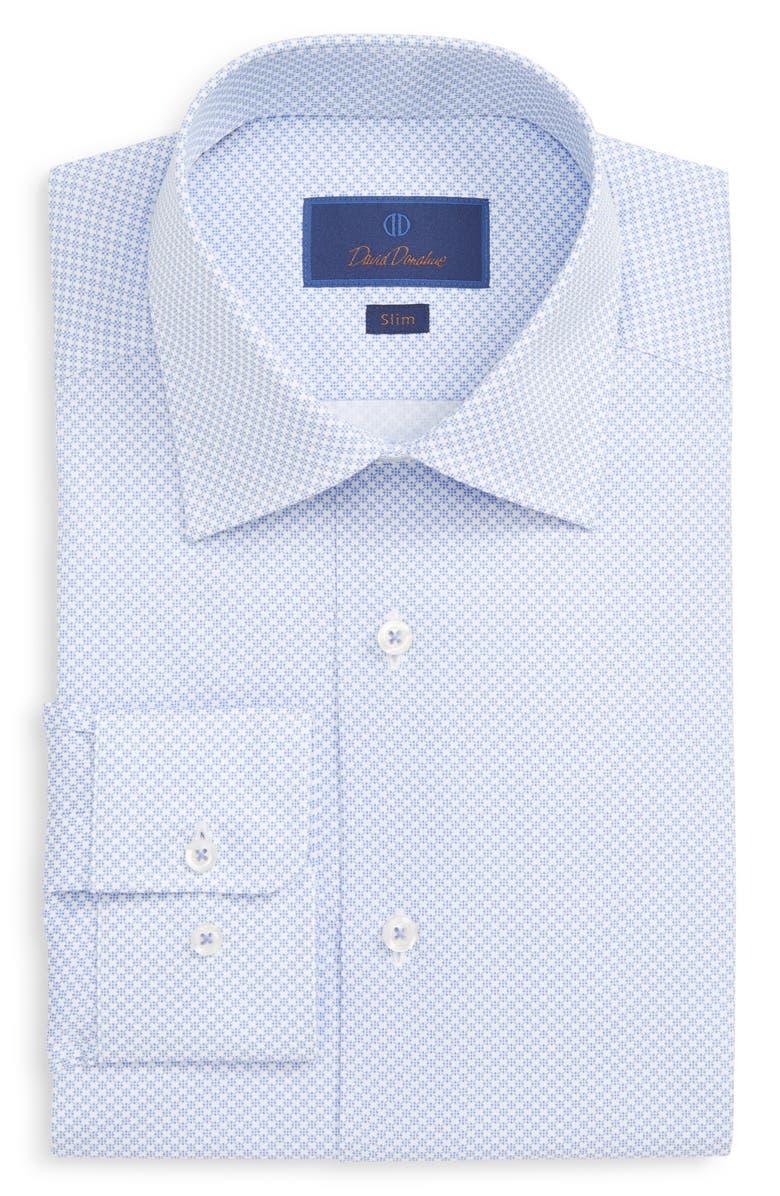 DAVID DONAHUE Slim Fit Geo Print Dress Shirt, Main, color, BLUE