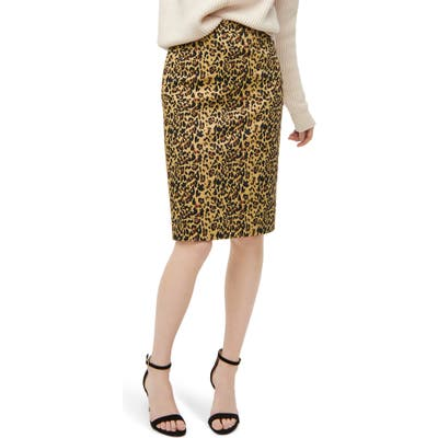 J.crew No. 2 Pencil Leopard Stretch Skirt, Brown