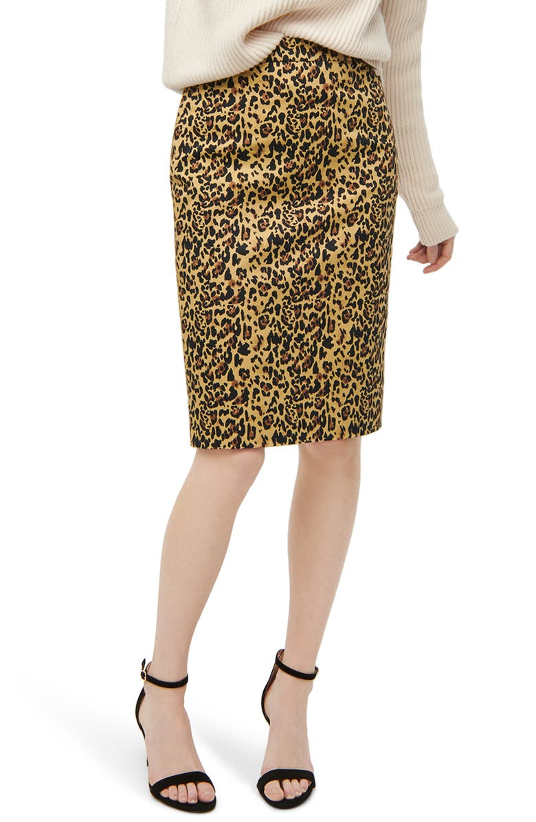 J.CREW No. 2 Pencil Leopard Stretch Skirt, Main, color, 200