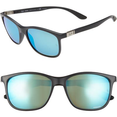 Ray-Ban 5m Chromance Polarized Sunglasses - Black/ Green Mir Blue Polar
