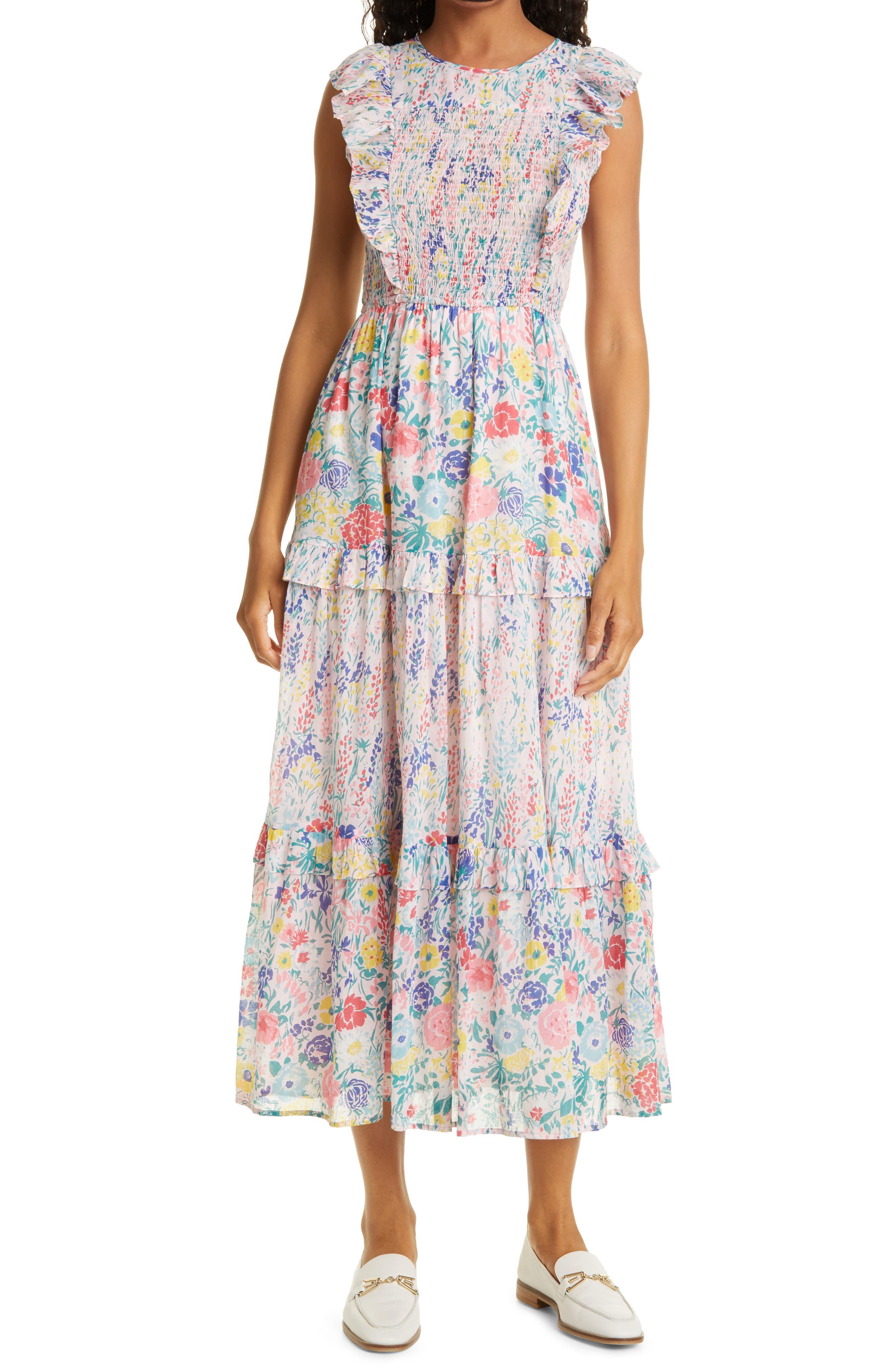 Iris Smocked Bodice Cotton Maxi Dress