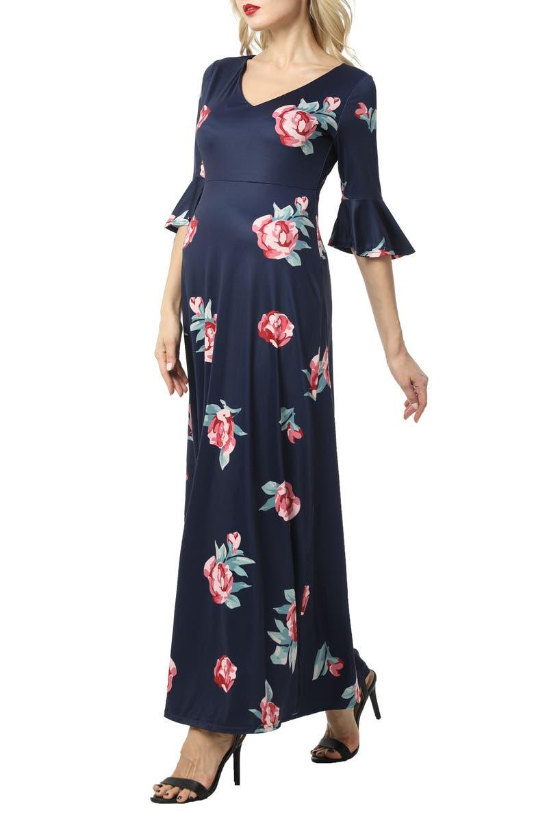 KIMI AND KAI Louisa Floral Maternity Maxi Dress, Main, color, NAVY
