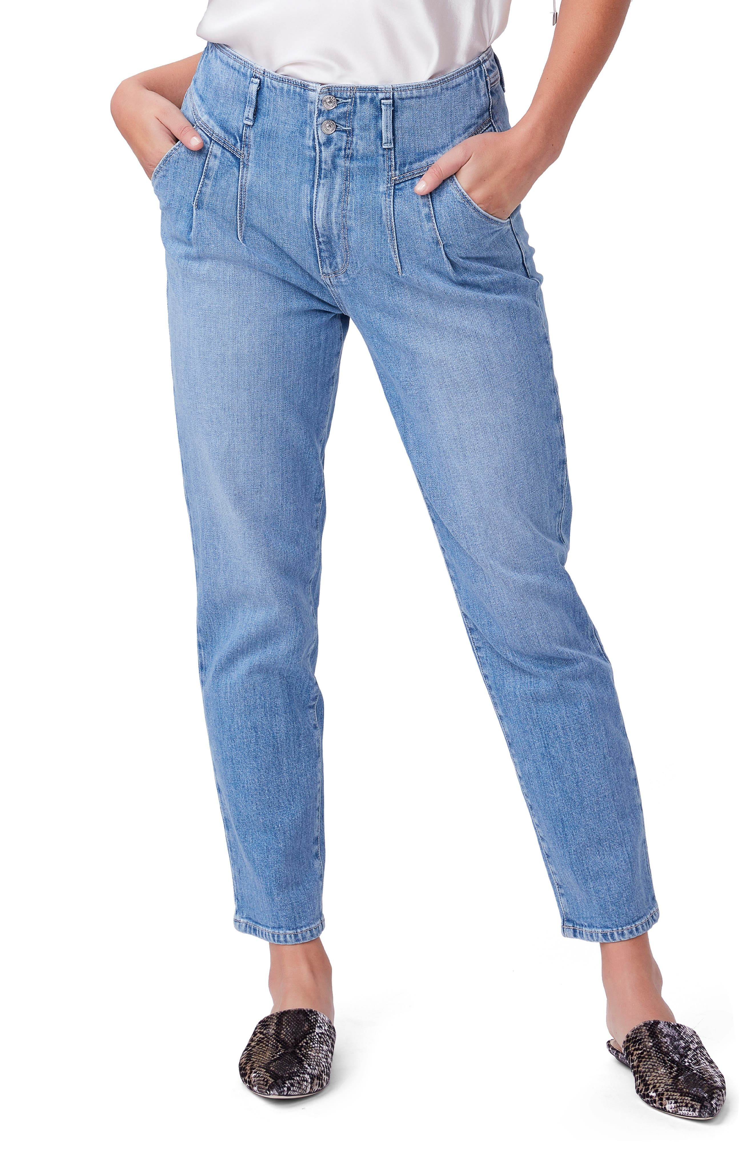Image of PAIGE Sarah Front Pleat Ankle Straight Leg Jeans