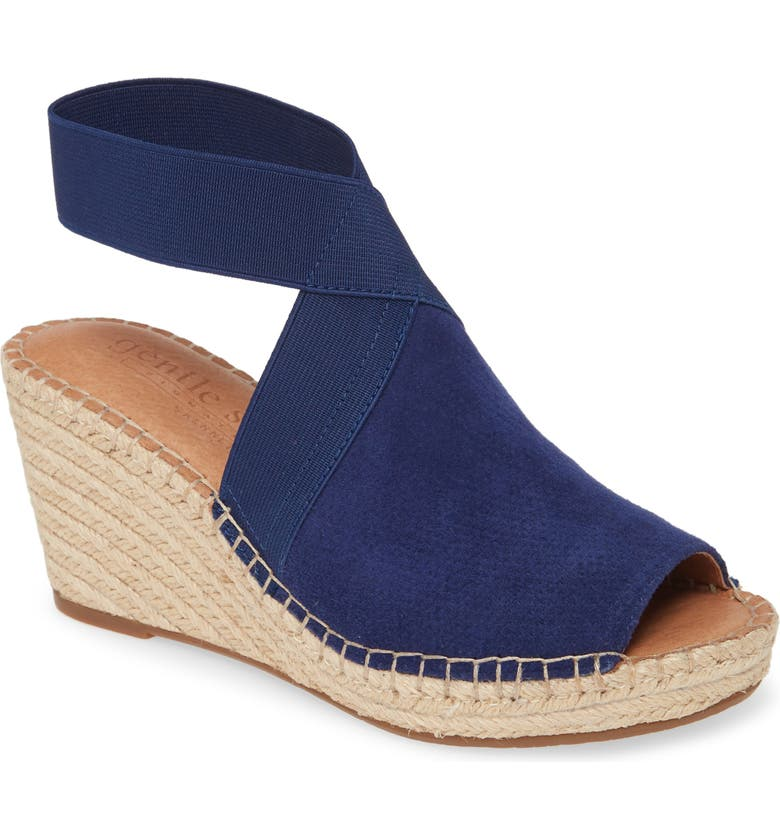 GENTLE SOULS BY KENNETH COLE Gentle Souls Signature Colleen Espadrille Wedge, Main, color, BLUE SUEDE