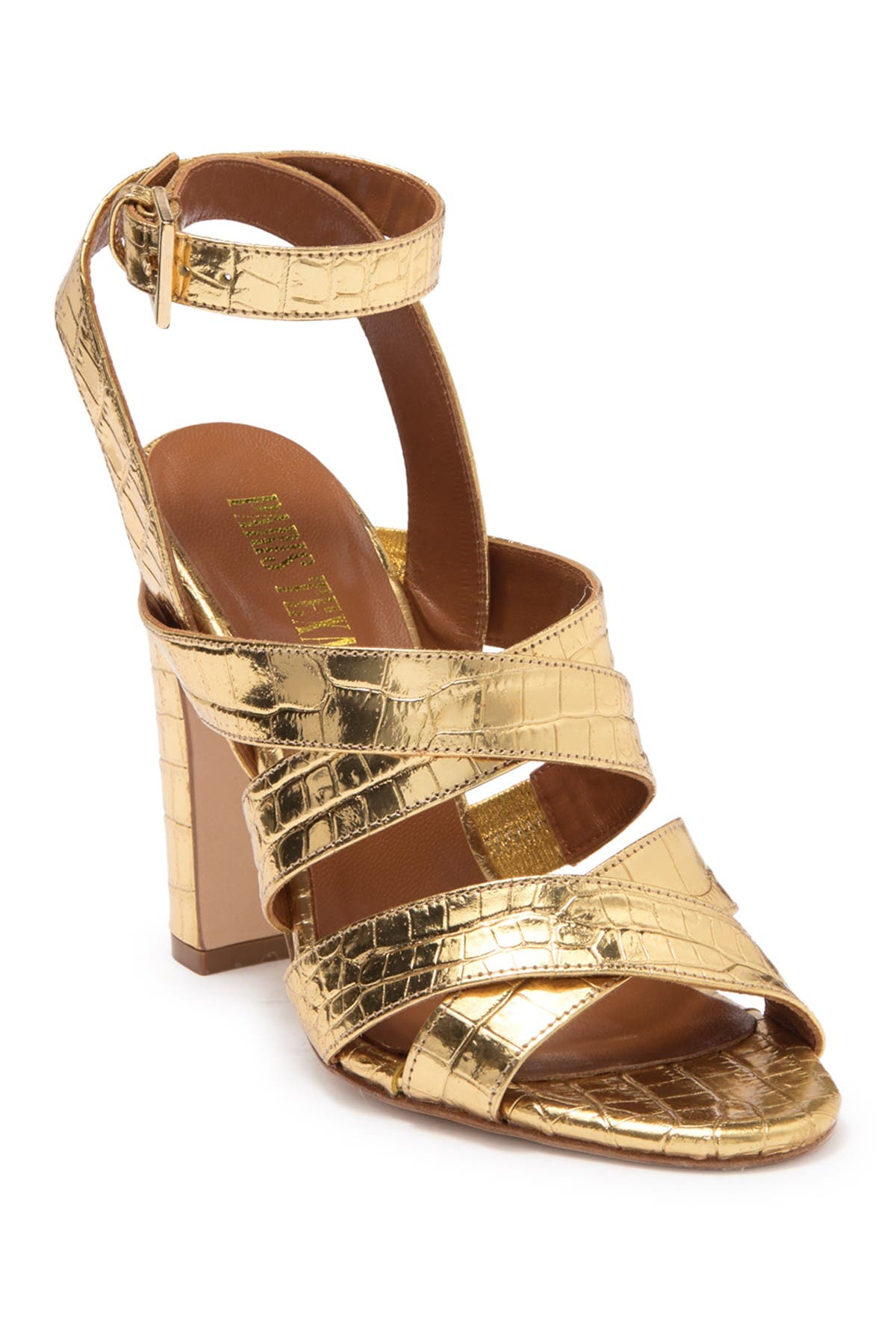 Image of PARIS TEXAS Metallic Croc Embossed Print Strappy Block Heel Sandal