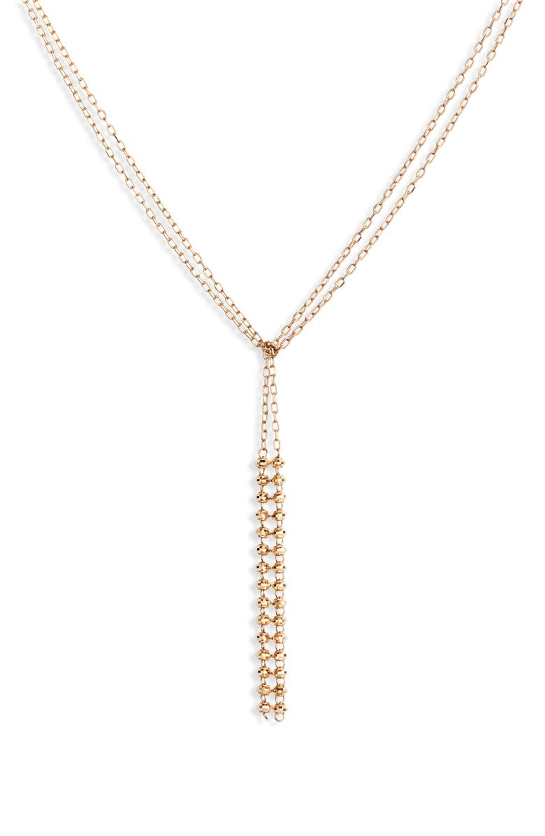 POPPY FINCH Double Shimmer Dangle Y-Necklace, Main, color, GOLD