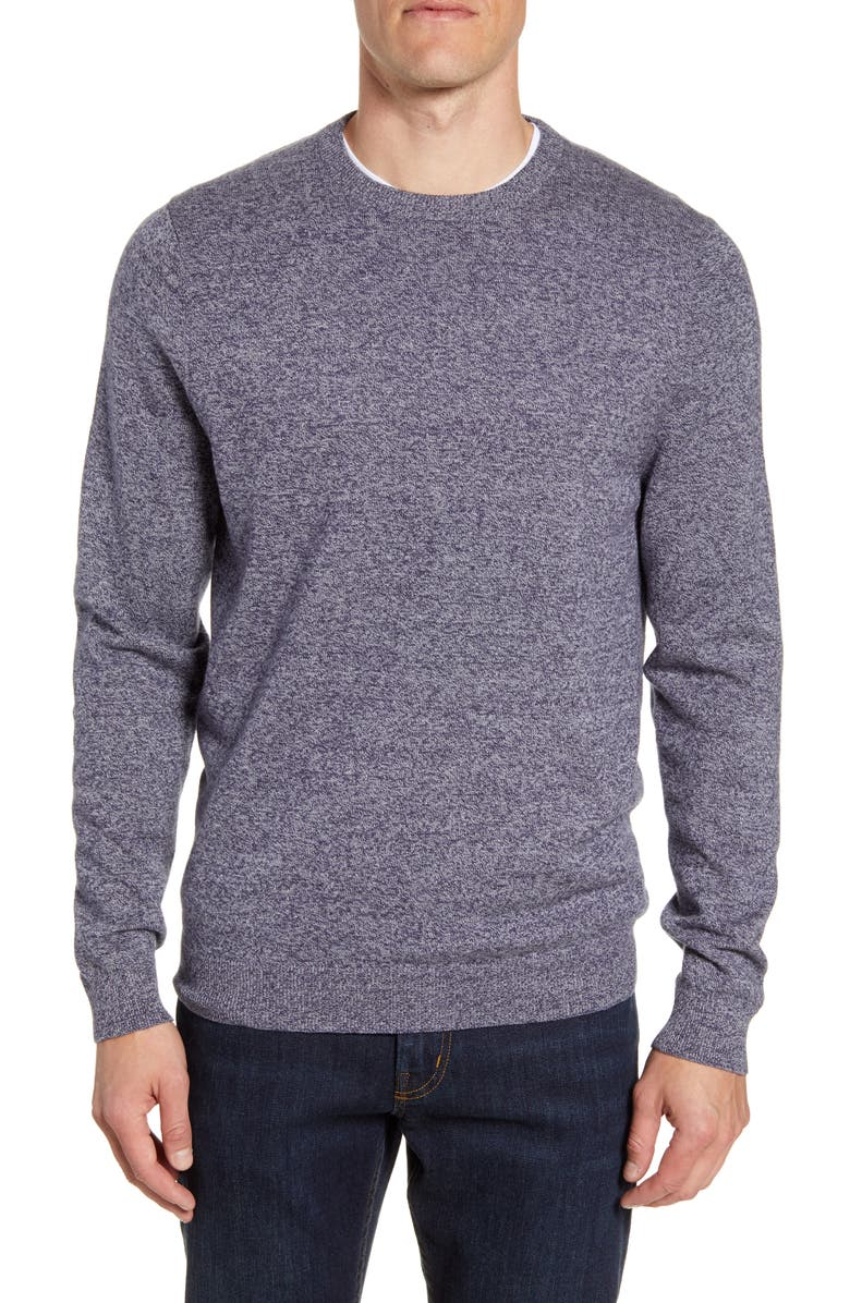 NORDSTROM MEN'S SHOP Cotton & Cashmere Crewneck Sweater, Main, color, NAVY ARMADA MARL
