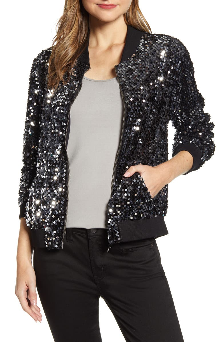 SANCTUARY Disco Sequin Bomber Jacket, Main, color, 011