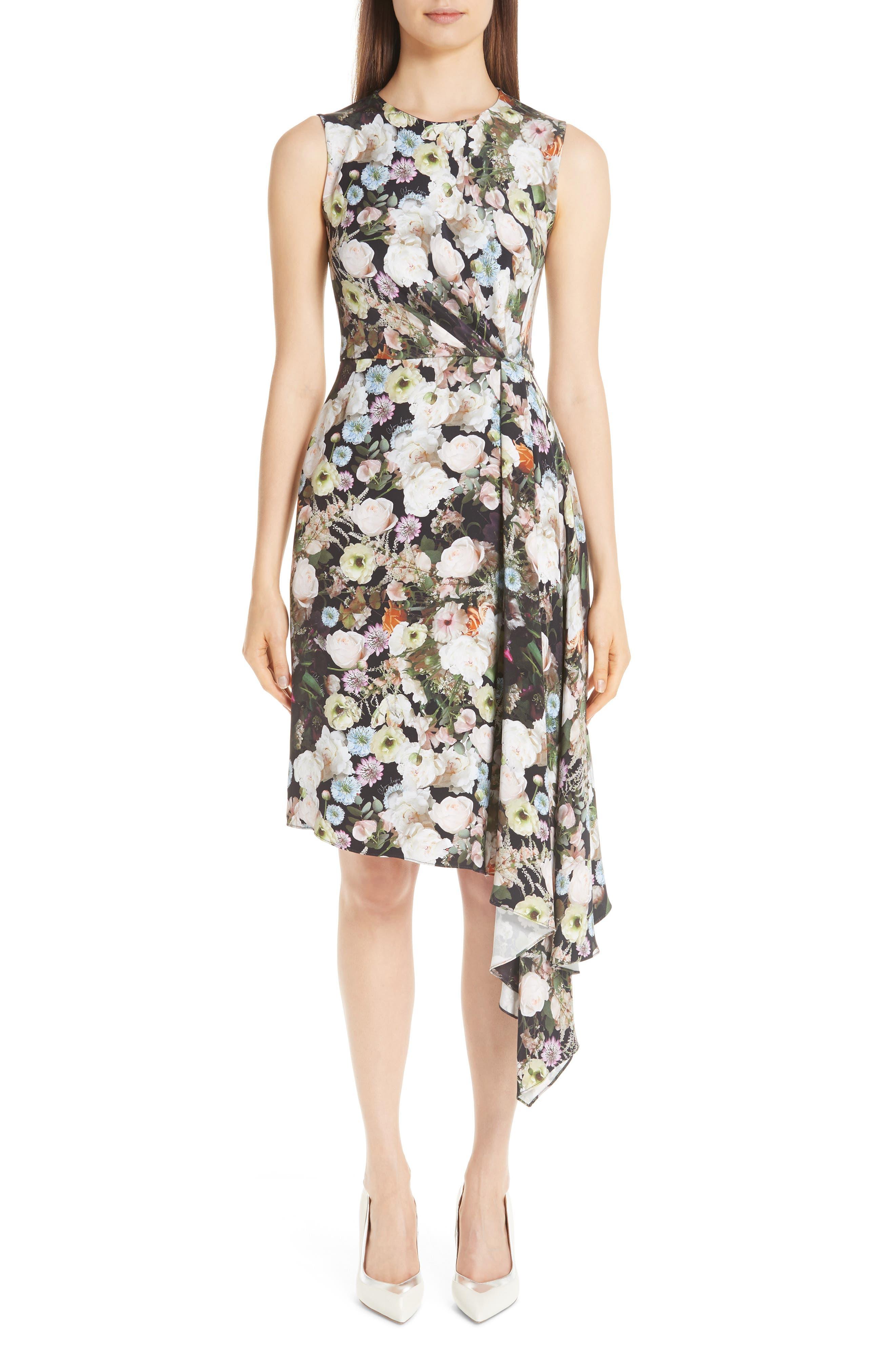 Adam Lippes Floral Print Silk Drape Dress