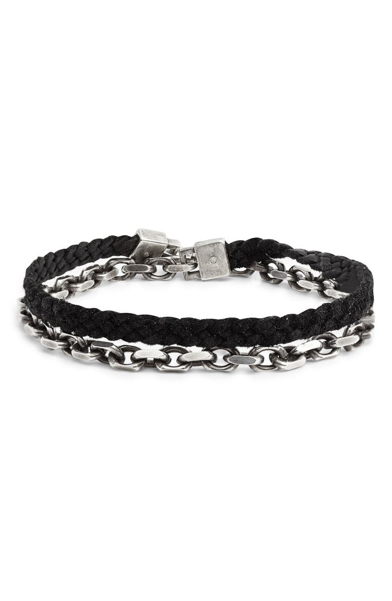 TITLE OF WORK Cable Wrap Bracelet, Main, color, SILVER/ BLACK