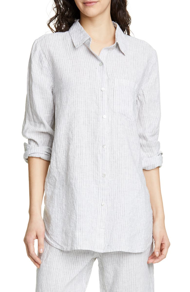 EILEEN FISHER Stripe Linen Blend Shirt, Main, color, 117