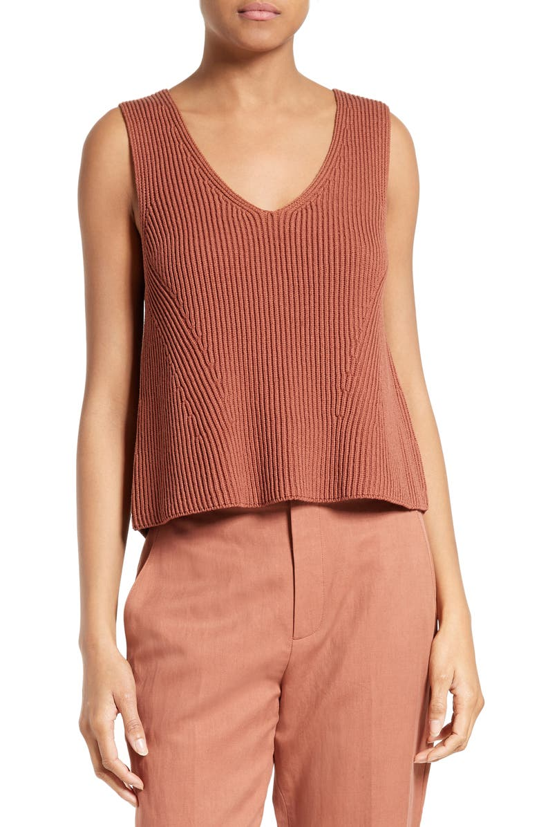 VINCE Ribbed Cotton Tank, Main, color, 208