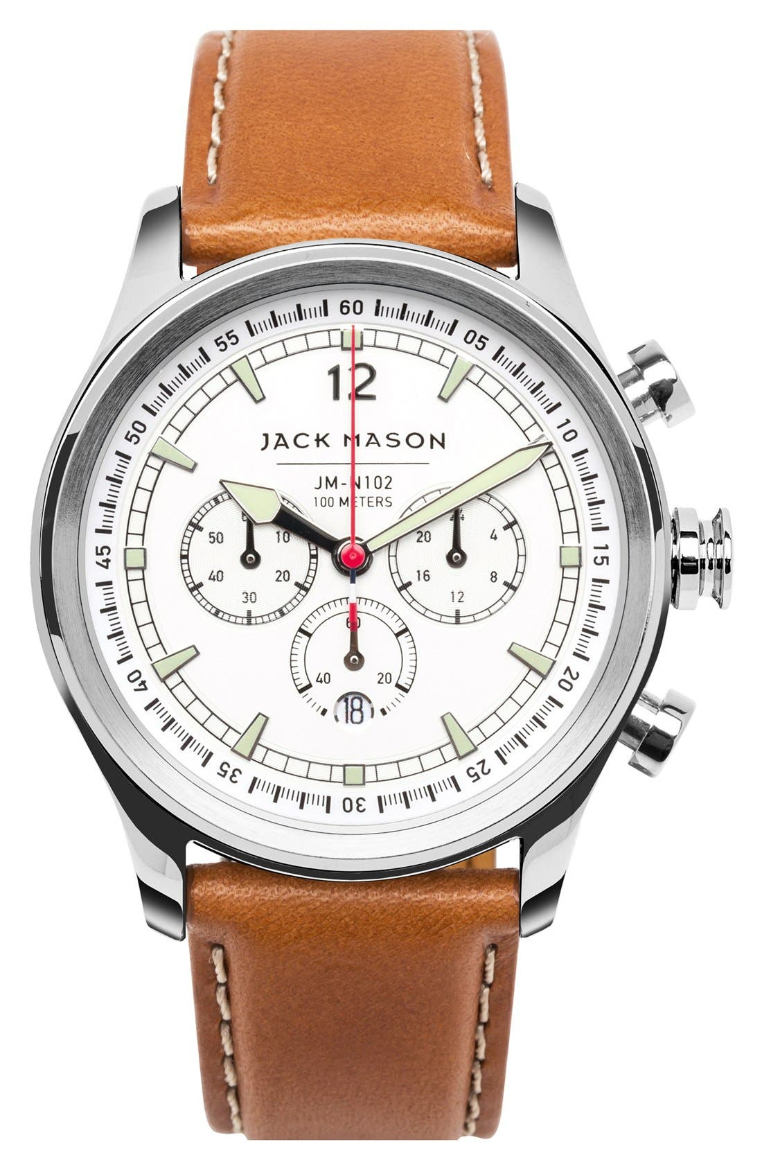 ,                             Nautical Chronograph Leather Strap Watch, 42mm,                             Main thumbnail 1, color,                             WHITE/ TAN
