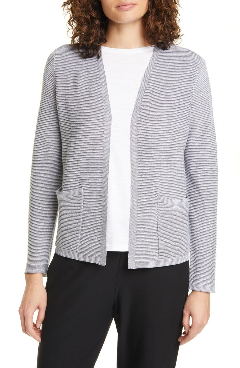 EILEEN FISHER Ribbed Organic Linen & Cotton Cardigan, Main, color, ASH