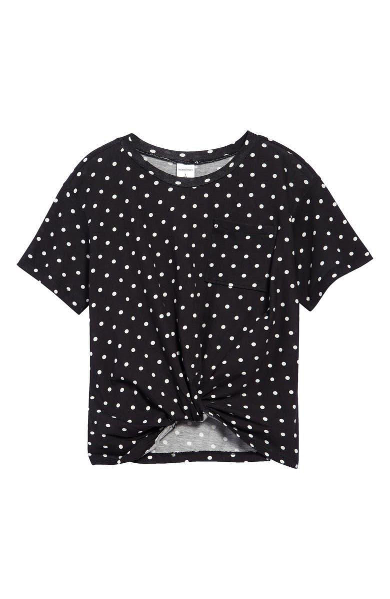 NORDSTROM Kids' Knot Front T-Shirt, Main, color, BLACK- IVORY AMERICANA DOT