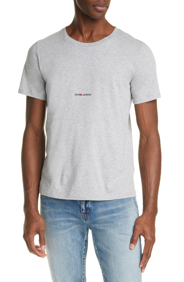 SAINT LAURENT Gauche Logo T-Shirt, Main, color, GREY