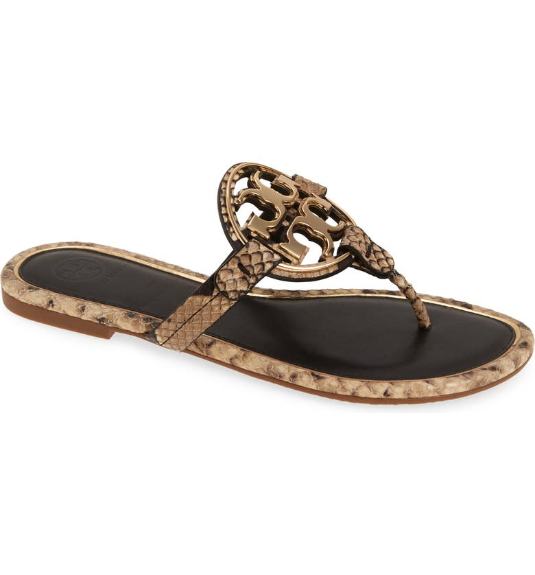 TORY BURCH Metal Miller Flip Flop, Main, color, DESERT ROCCIA / GOLD