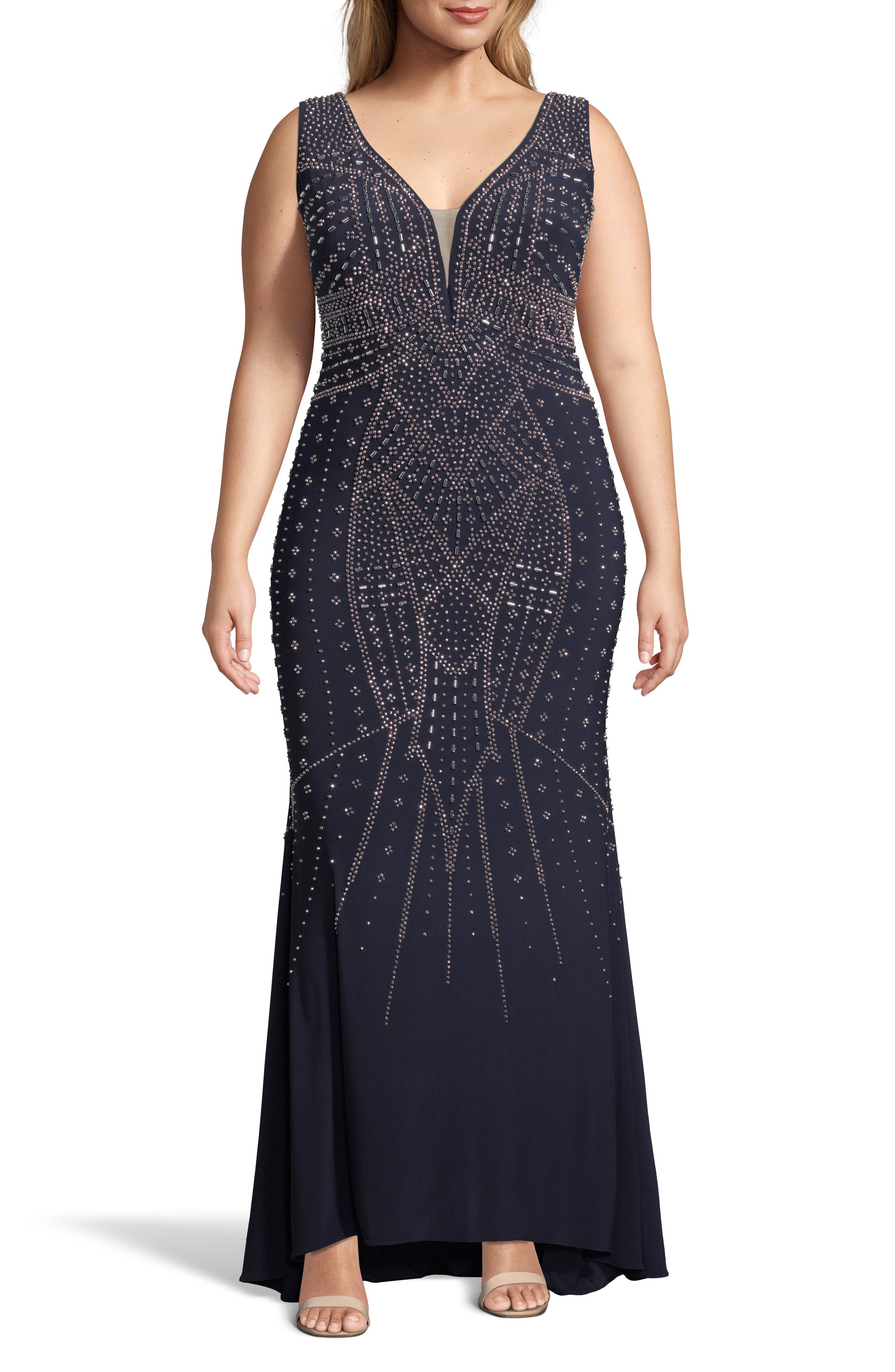 Plus Size Xscape Beaded Evening Gown, Blue