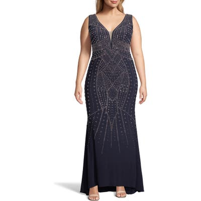 Plus Size Xscape Beaded Evening Gown, Blue