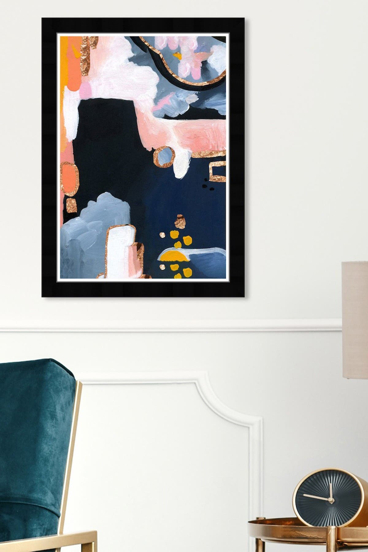 Image of Wynwood Studio Copper Seas Blue Abstract Framed Wall Art
