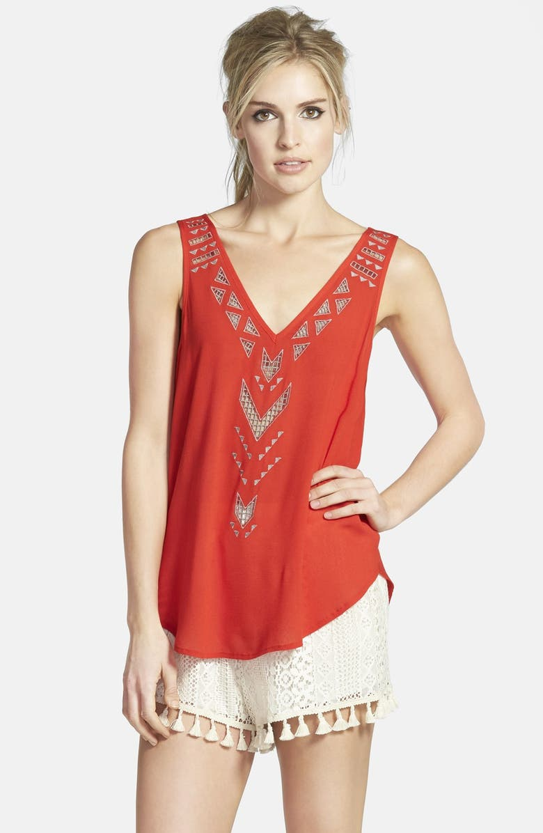 ASTR THE LABEL ASTR Embroidered Cross Back Tank, Main, color, 600