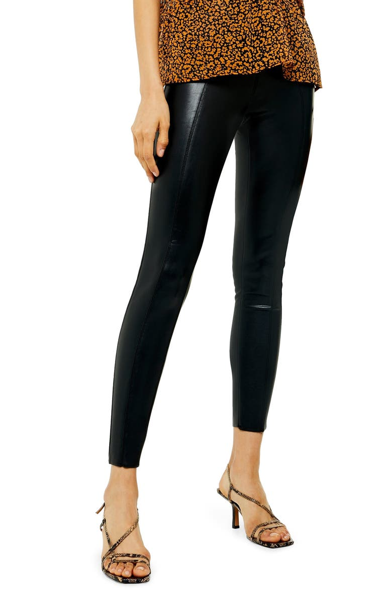 TOPSHOP Piper Faux Leather Skinny Leggings, Main, color, BLACK