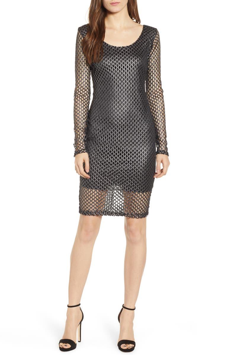 SENTIMENTAL NY Long Sleeve Mesh Body-Con Dress, Main, color, 001