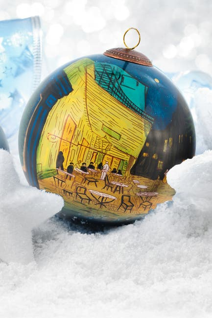 """Image of Overstock Art """"Cafe Terrace at Night"""" Vincent Van Gogh Hand Painted Glass Ornament Collection - Set of 6"""