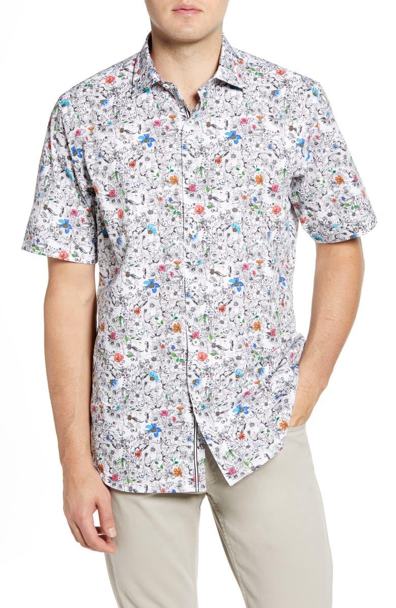 BUGATCHI Classic Fit Floral Short Sleeve Button-Up Shirt, Main, color, CHALK