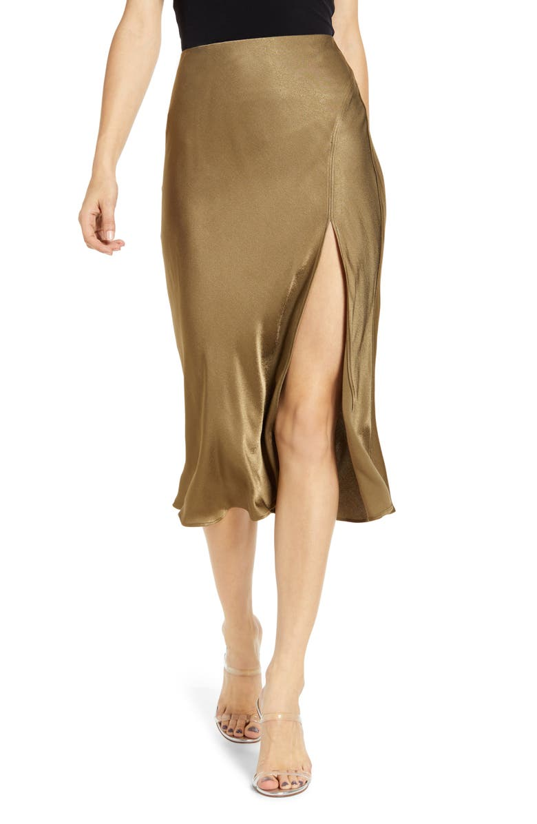 Bias Cut Satin Skirt by Socialite