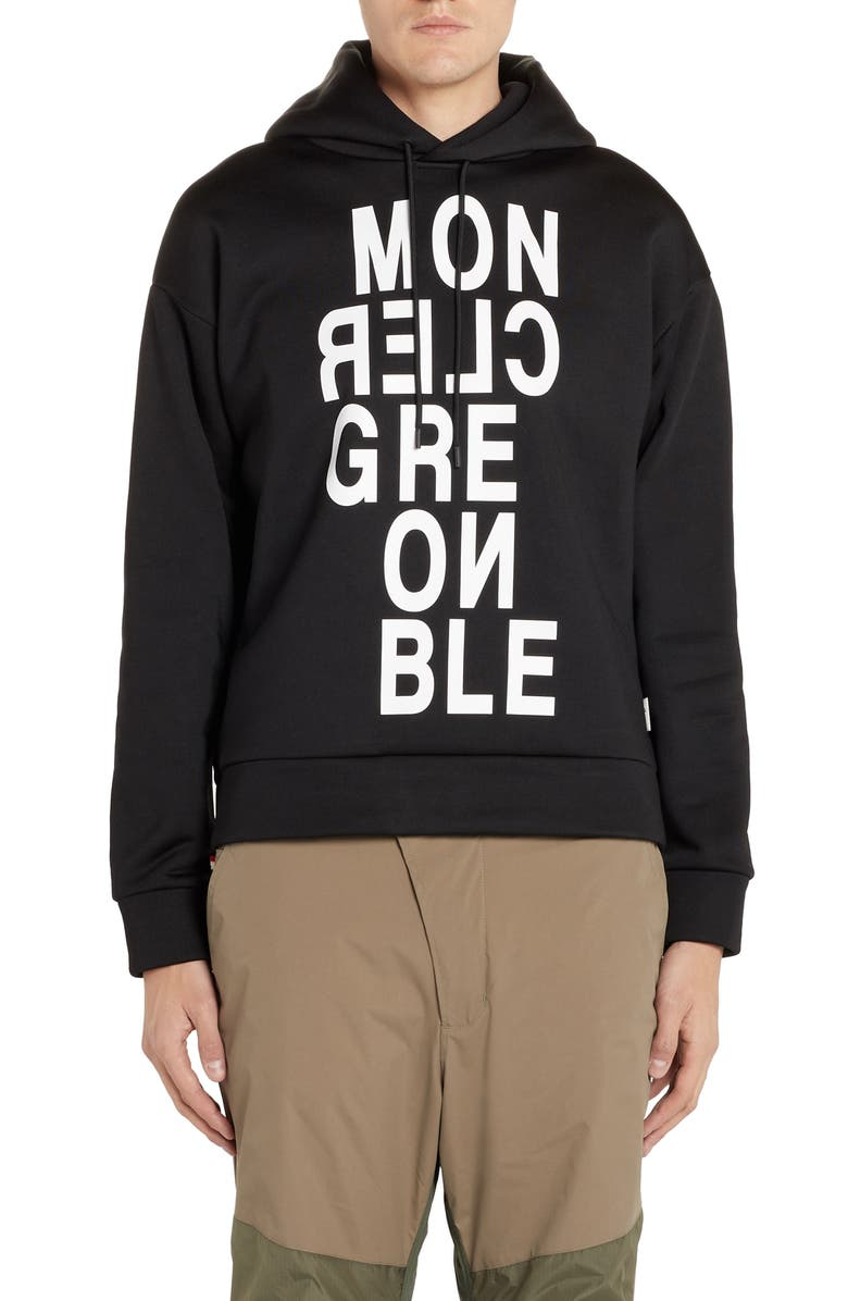MONCLER GRENOBLE Logo Hoodie, Main, color, BLACK