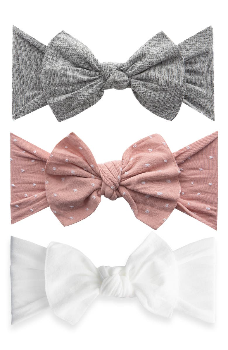 BABY BLING 3-Pack Heathered Bow Stretch Headbands, Main, color, 050