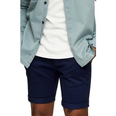 Topman Stretch Skinny Chino Shorts, Blue