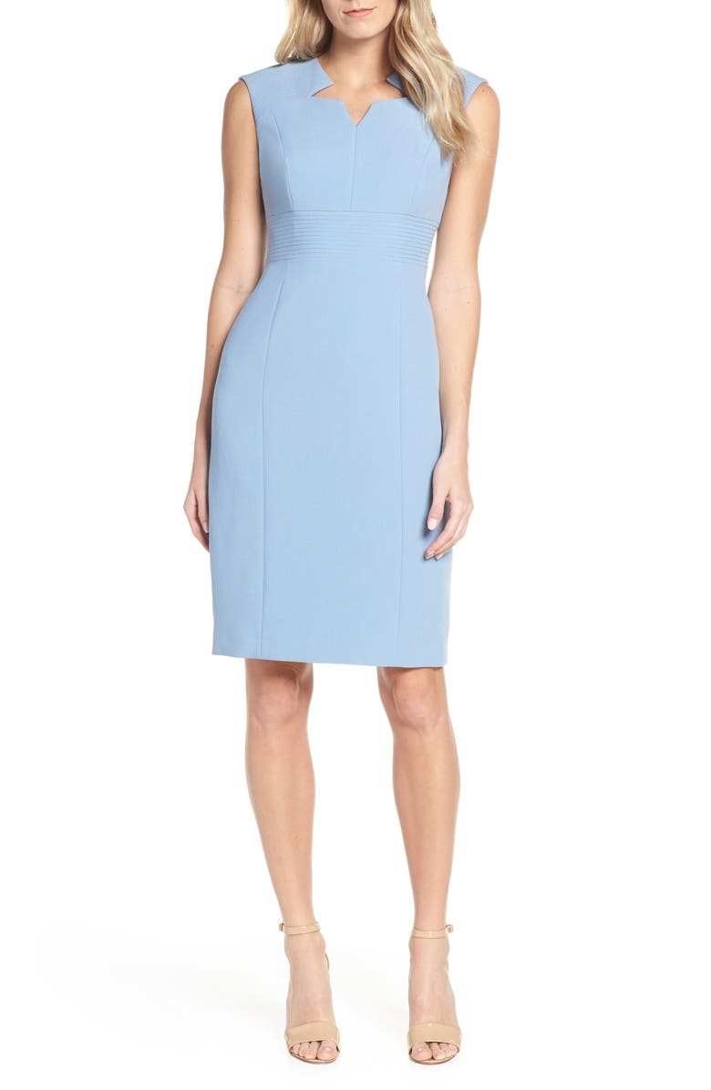 TAHARI Star Neckline Crepe Sheath Dress, Main, color, PERIWINKLE