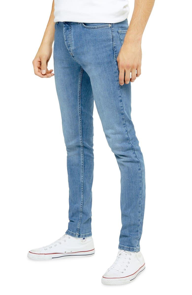TOPMAN Mason Skinny Fit Jeans, Main, color, BLUE