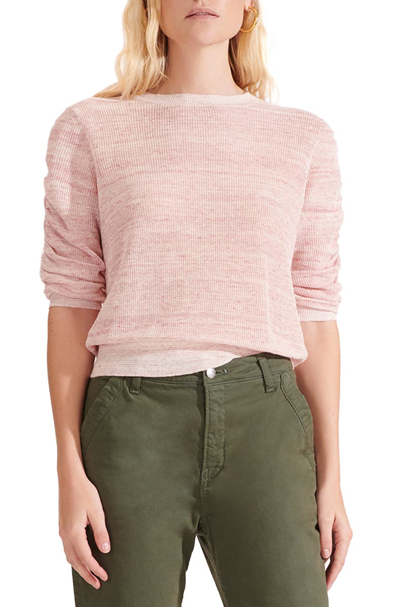 VERONICA BEARD Celia Ruched Sleeve Linen Blend Sweater, Main, color, PINK