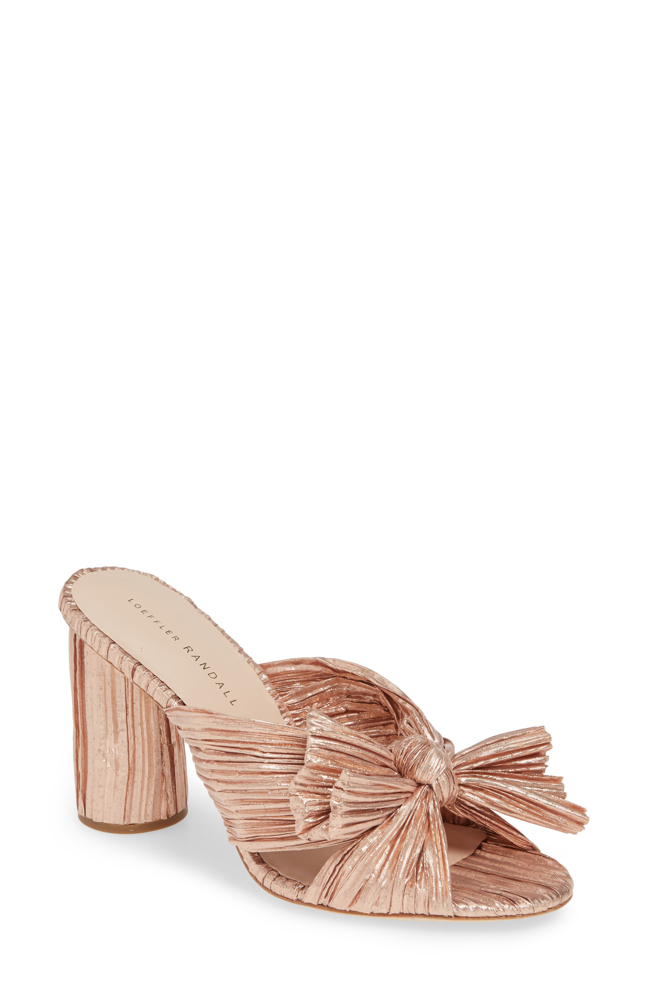 Penny Knotted Lamé Sandal, Main, color, ROSE GOLD
