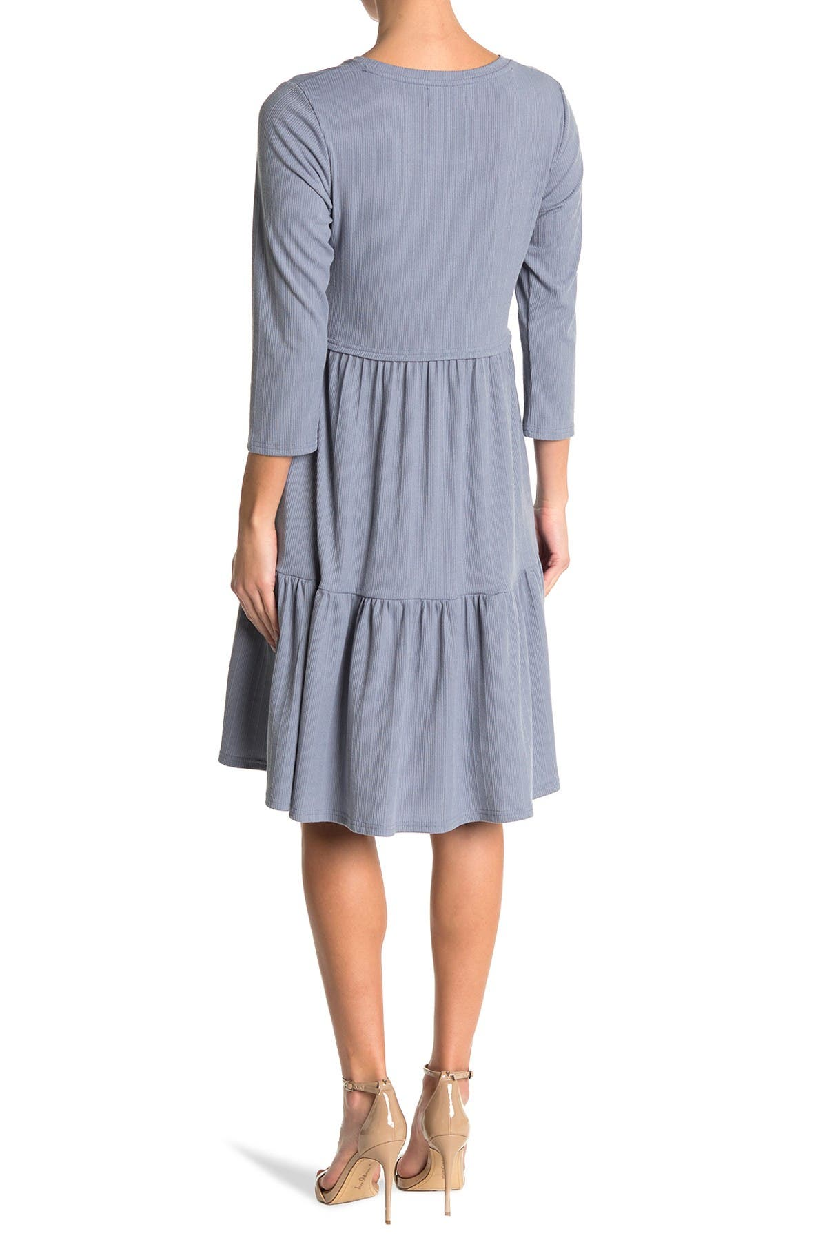 Image of MELLODAY 3/4 Sleeve Tiered Dress w/ Pockets