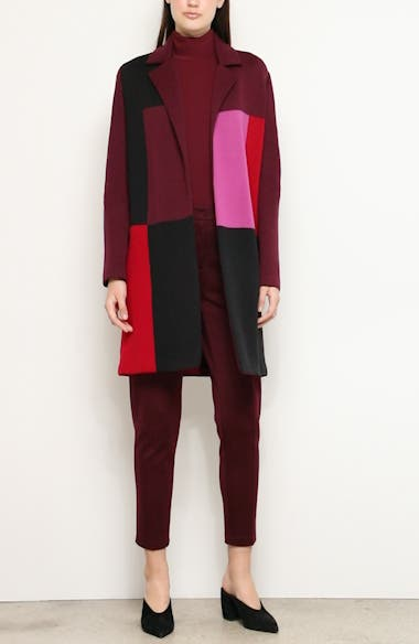 Patchwork Colorblock Twill Knit Sweater Jacket, video thumbnail
