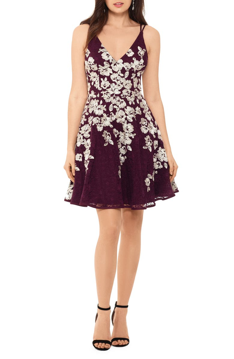 XSCAPE Embroidered Fit & Flare Dress, Main, color, WINE/ GOLD